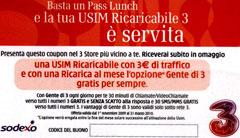 Pass Lunch regala USIM 3 Italia gratis