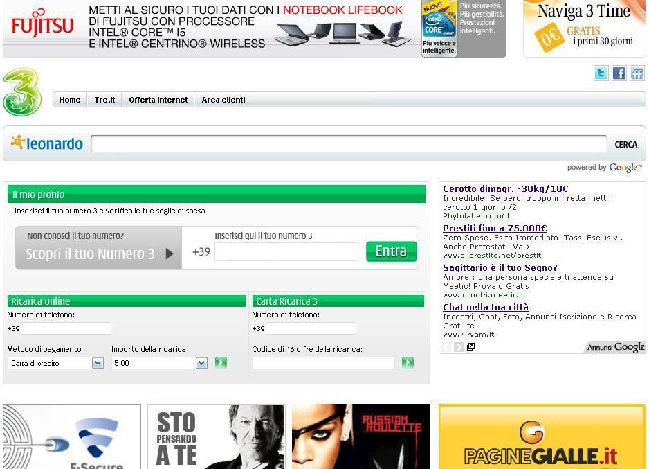 half off f67fc 304de Il nuovo portale internet.tre.it: servizi gratis per clienti ...