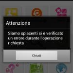 area clienti 3 android errore