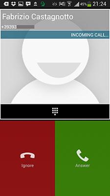 iNoverca (Noverca Plus) - Chiamata in corso