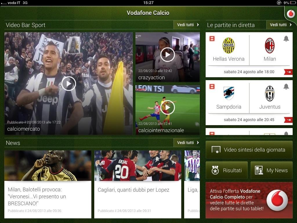 Vodafone Calcio streaming gratis
