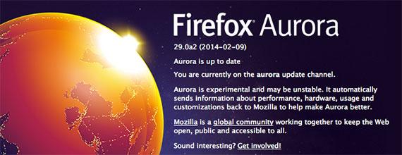 Firefox Aurora 29.0a2 (2014-02-09)