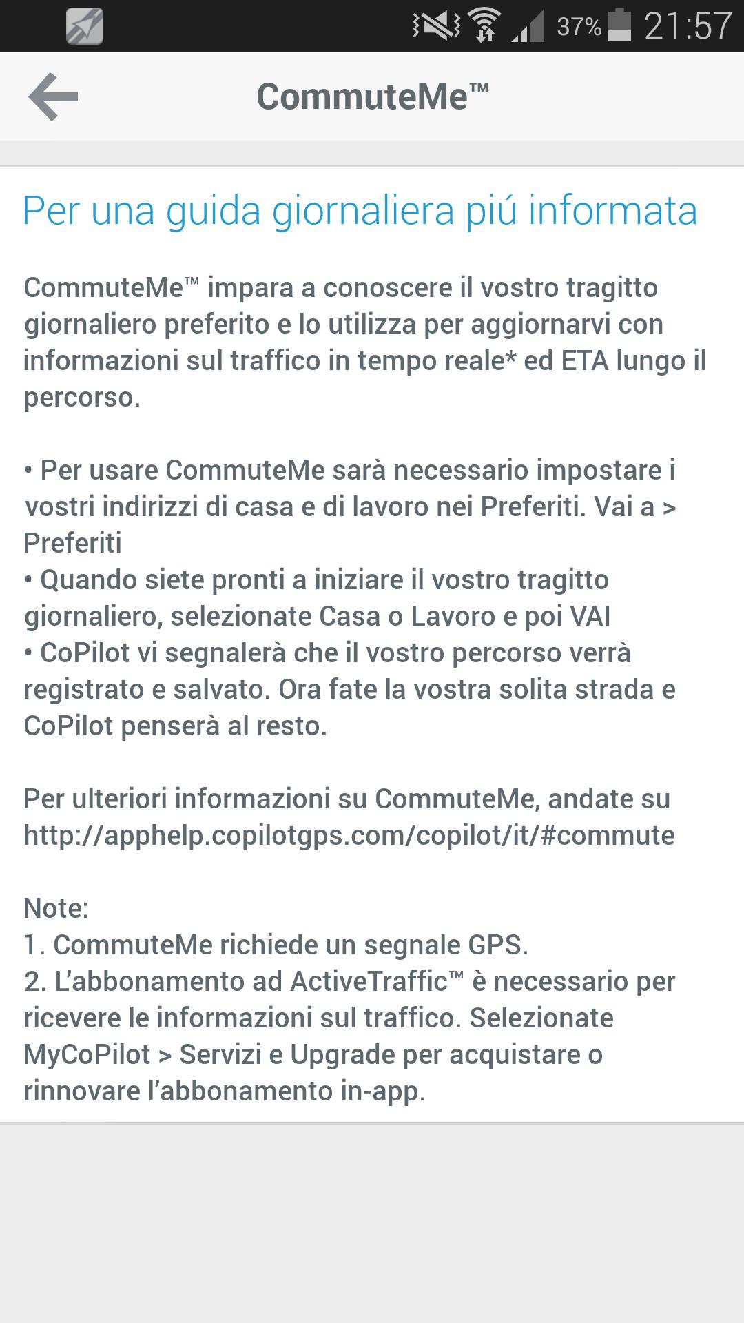 CoPilot CommuteMe Aggiornamento
