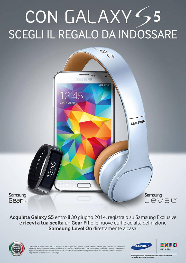 Samsung Galaxy S5: gratis Galaxy Gear Fit o cuffie Level on (promo Samsung Exclusive giugno 2014)
