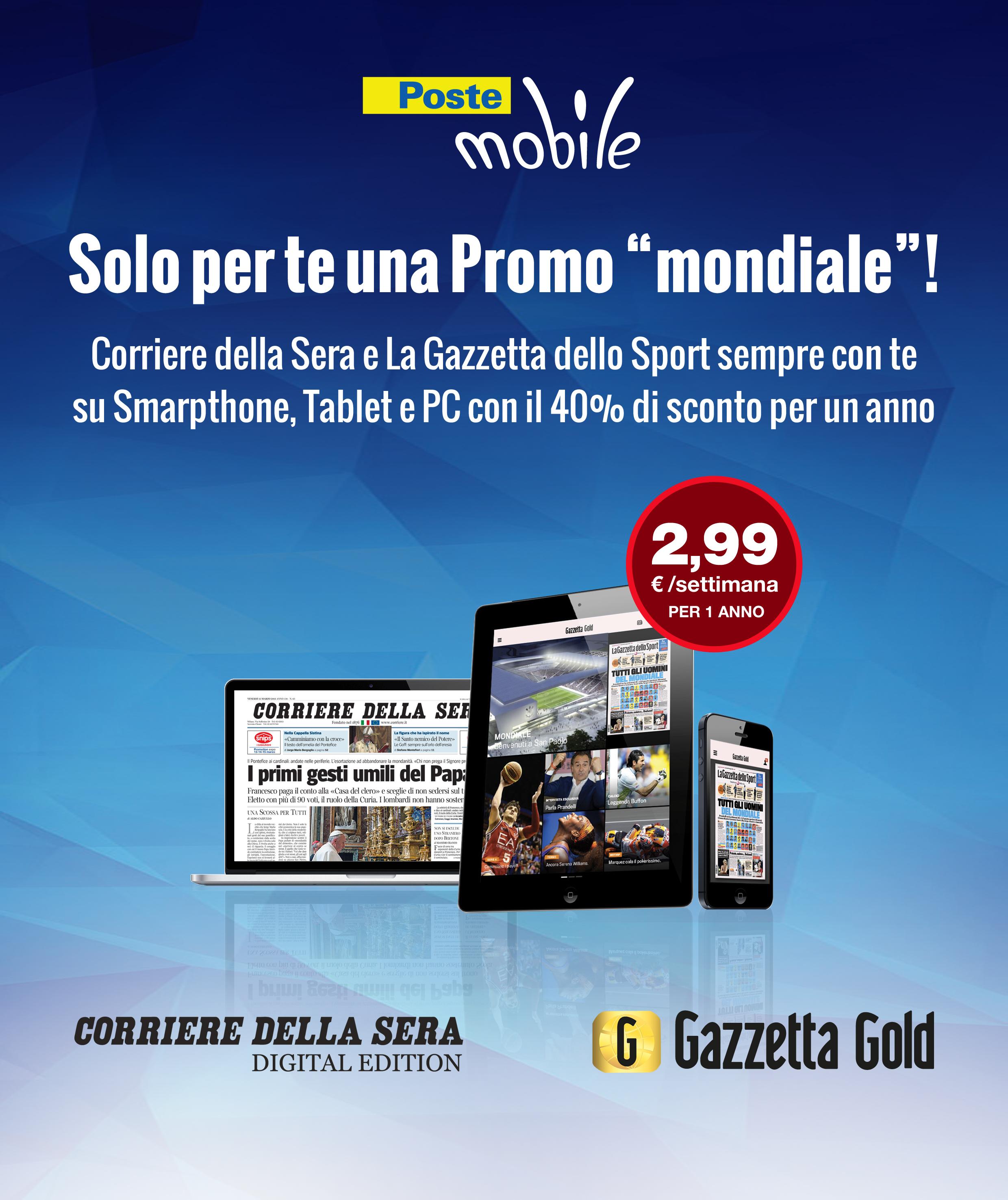 PosteMobile promo mondiale Gazzetta