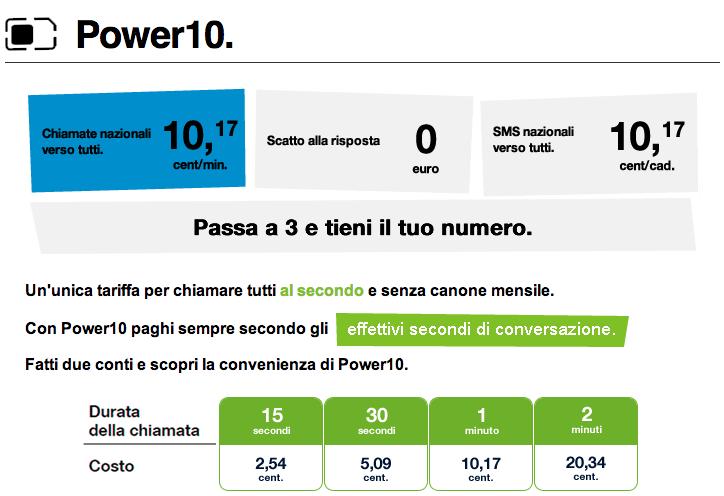 Tariffa Power10 di 3 Italia