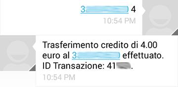 Wind Ricarica SMS: esempio