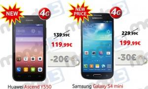 Vodafone: Huawei Ascend Y550 e Samsung Galaxy S4 Mini in promo (ottobre 2014)