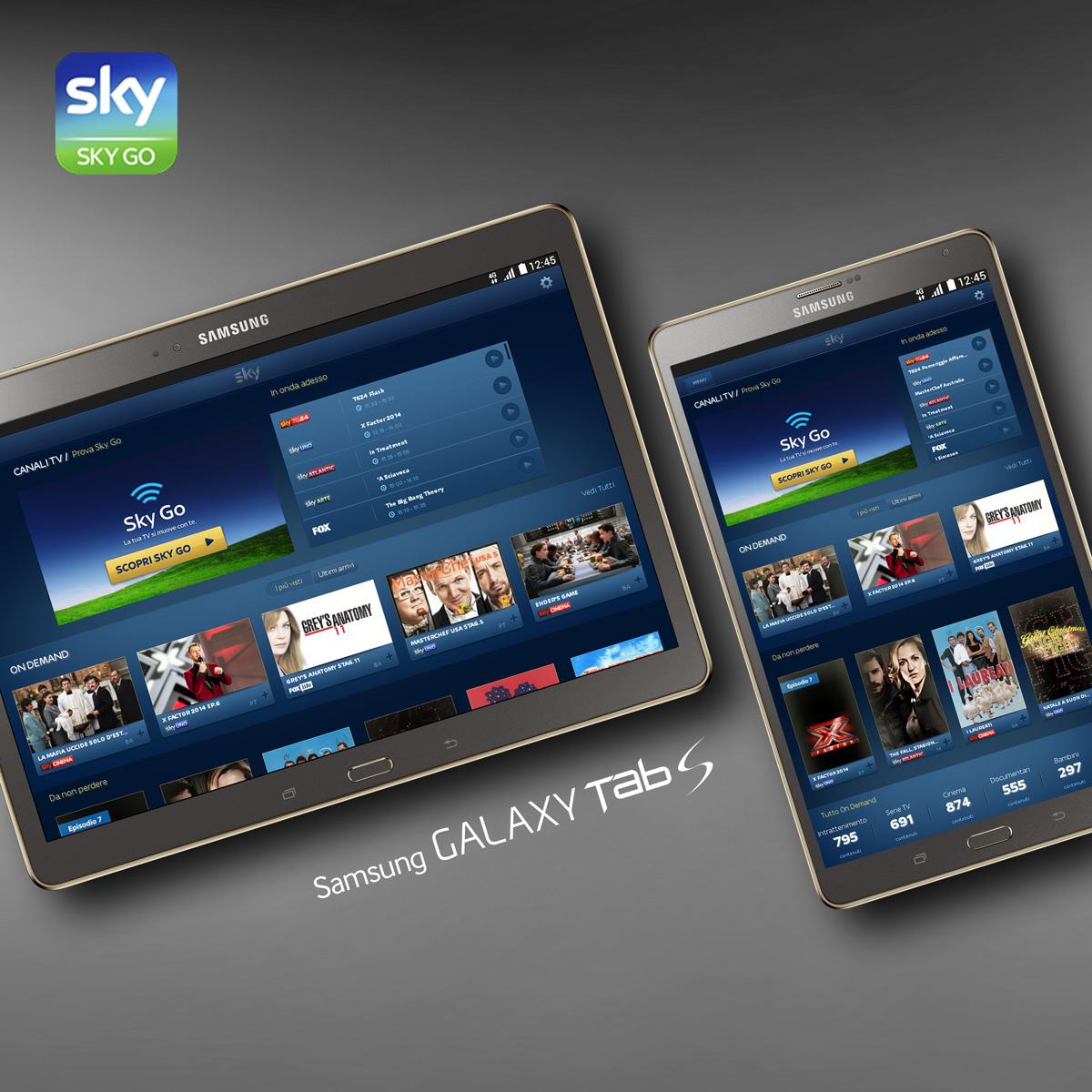 Samsung Galaxy Tab S con Sky Go