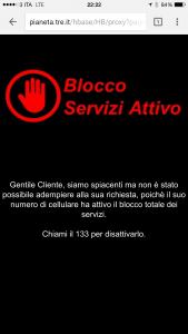 Barring servizi digitali 3 Italia: blocco servizi attivo