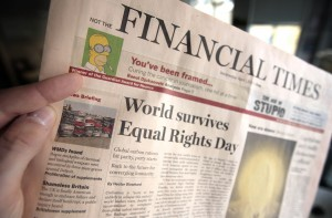 A fake copy of the Financial Times is pi