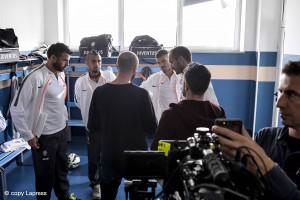 I giocatori della Juventus Stefano Sturaro , Giorgio Chiellini , Andrea Barzagli , Arturo Vidal e il mister Massimiliano Allegri durante la registrazione di uno spot Samsung