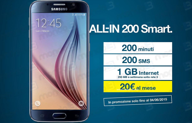 All-IN Smart 200 con Samsung Galaxy S6 in promo