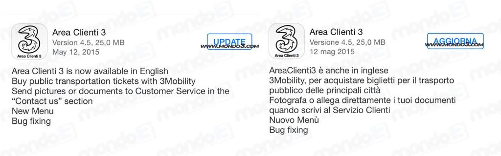 Area Clienti 3: aggiornamento 4.5 12 maggio 2015 italiano e inglese
