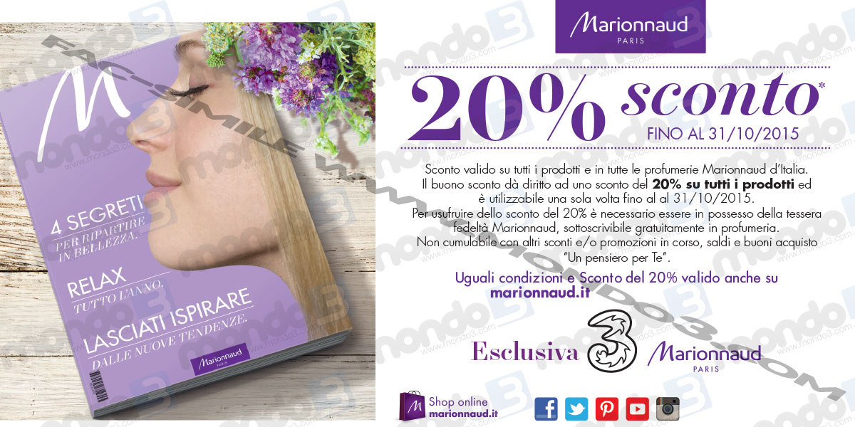Coupon Marionnaud 3 Italia sconto 20%