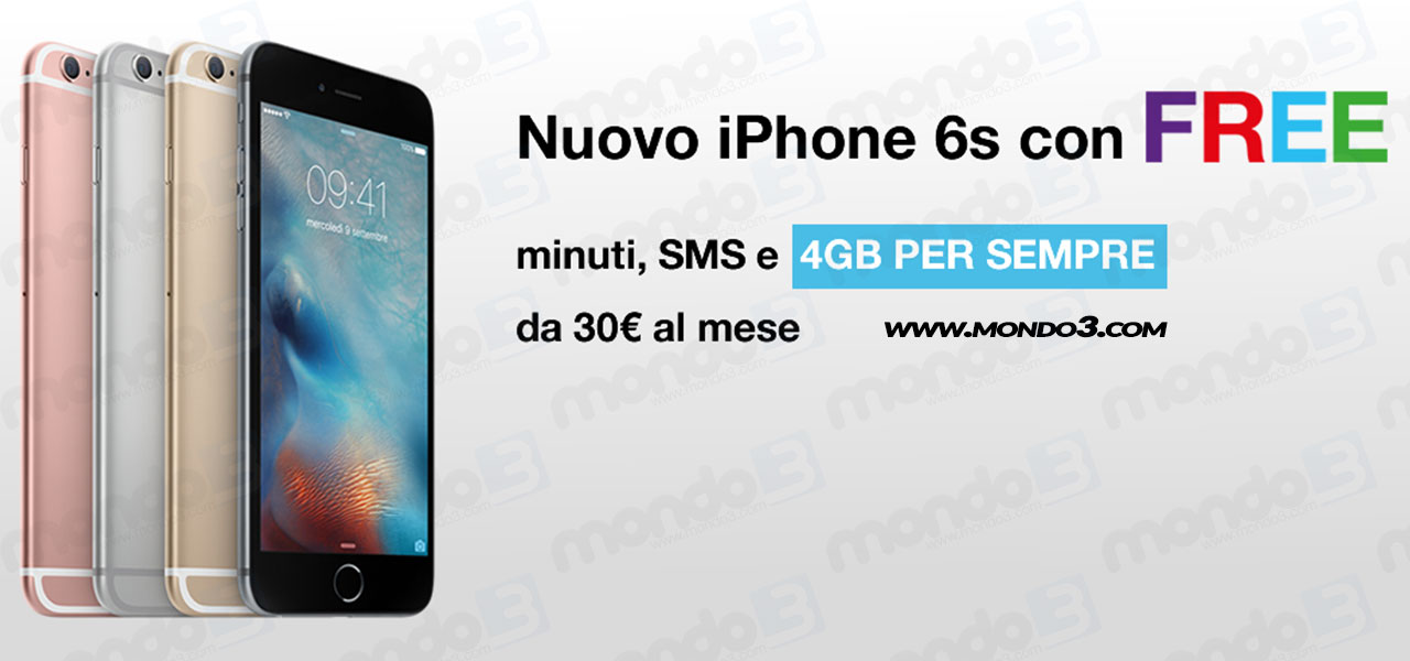 I nuovi Apple iPhone 6s con #FREE di 3 Italia
