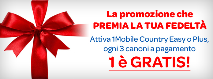 canone gratis 1mobile Country Easy e Plus