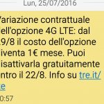 Variazione contrattuale Opzione LTE 3
