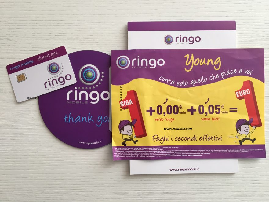 Ringo Mobile Young: SIM, bloc notes e volantino