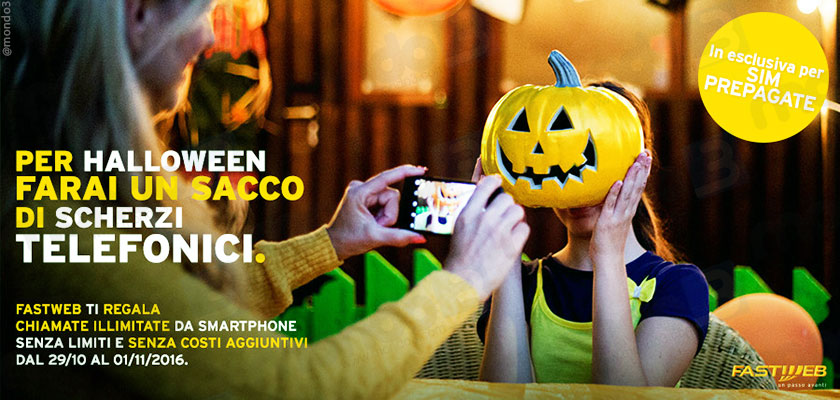 Halloween 2016: scherzi telefonici con Fastweb Mobile, chiamate gratis fino a 10.000 minuti