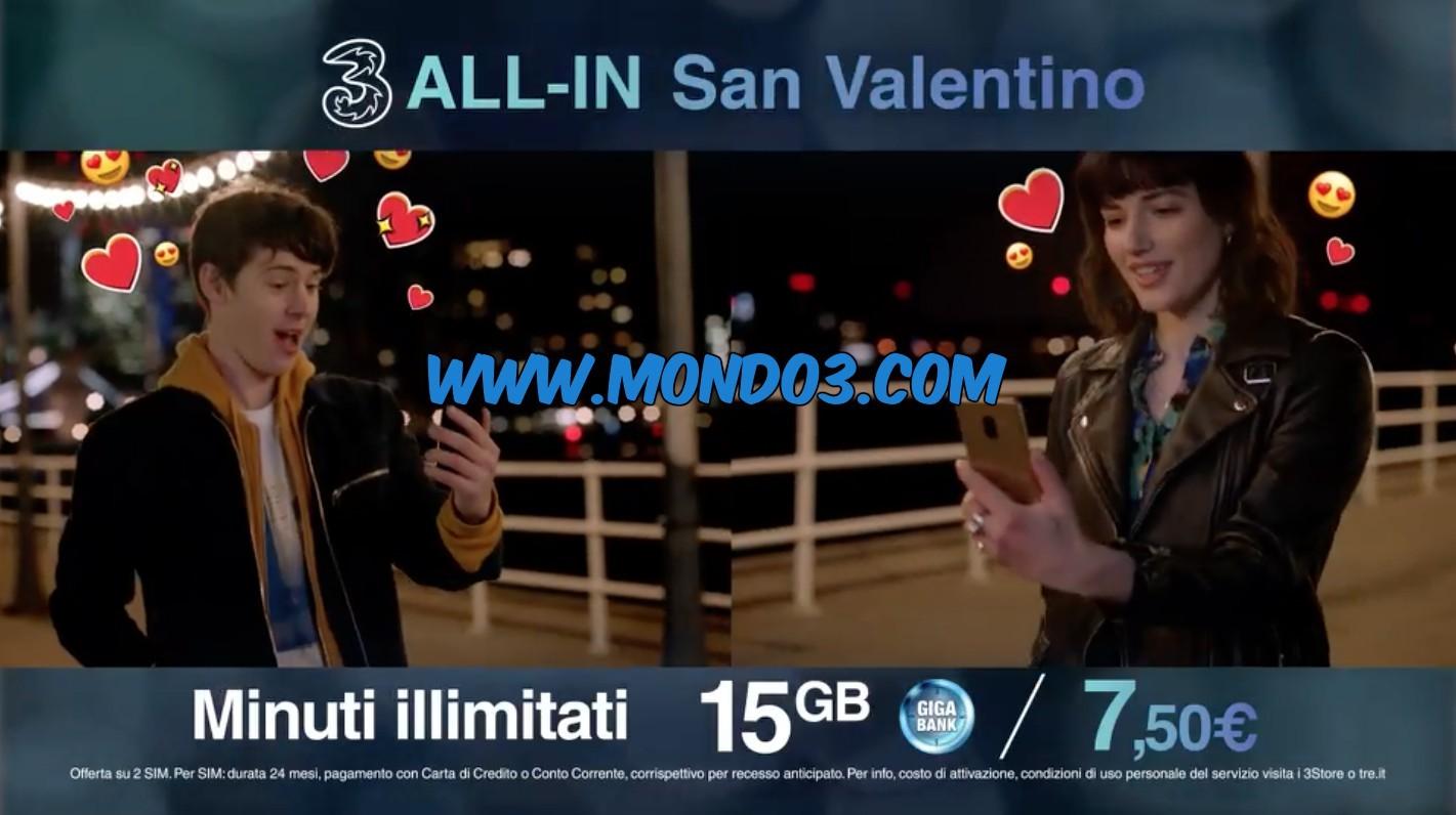 Tutti i dettagli delle offerte speciali limited edition 3 for San valentino in italia