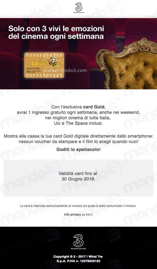 Grande Cinema 3: proroga al 30 06 2018 (card Gold)