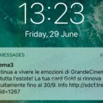 Grande Cinema 3 (card GOLD): la proroga al 30 settembre 2018 (SMS)