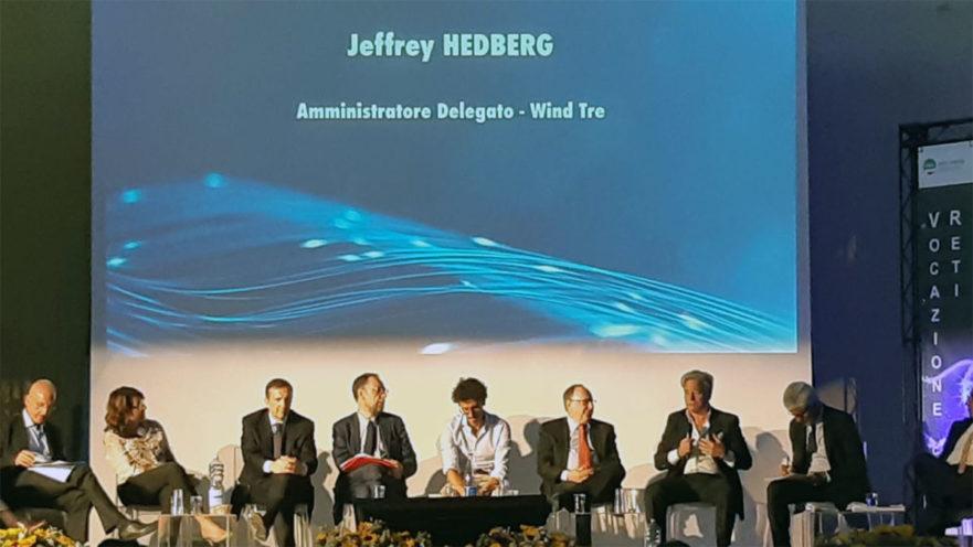 una foto del Ceo di Wind Tre, Jeffrey Hedberg, scattata durante l'evento