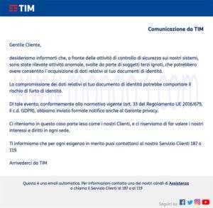 Data Breach TIM 3 Settembre 2021